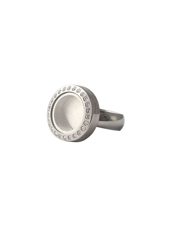 Silver with Crystals Mini Locket Ring - Size 9
