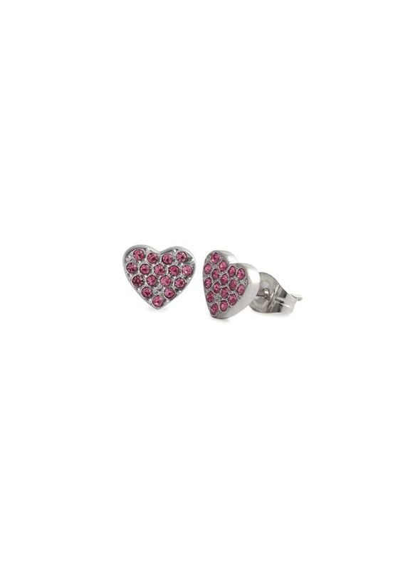 Pink Crystal Heart Studs